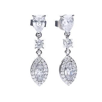 Diamonfire Womens 925 Sterling Silver Rhodium, Palladium & Platinum pläterad Clear Cubic Zirconia Multi Shape Dangle Stud Örhängen