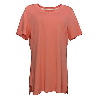 Isaac Mizrahi Live! Tunica top v neck da donna con spacchi laterali rosa A284876