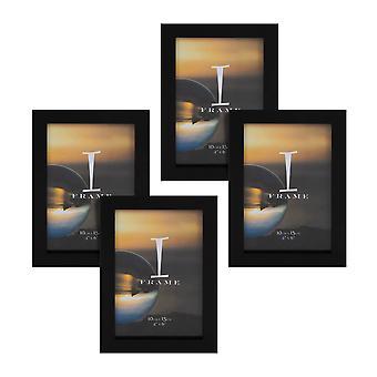 "4"" x 6"" - ערכת iFrame של 4 מסגרות תמונה שחור"