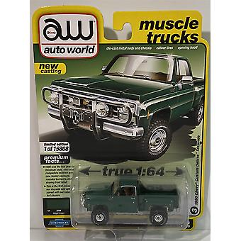1980 Chevy Custom Deluxe Stepside Bright Green 1:64 Auto World 64282B