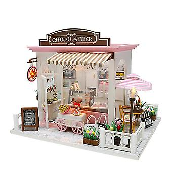 Diy doll house miniature sweet chocolate waiting time store dollhouse with furnitures woodentoys for children birthday gifts