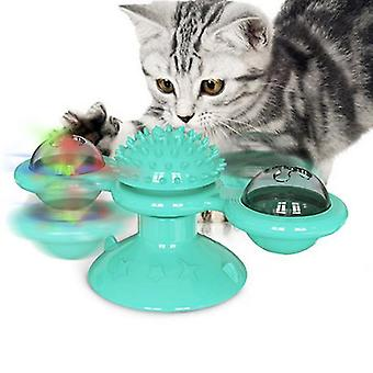 Giocattolo gatto mulino a vento con campane, giocattolo interattivo giradischi gatto, spazzolino da massaggio per gatti, pulizia dei denti