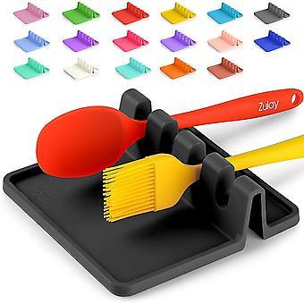 Silicone Utensil Rest With Drip Pad For Multiple Utensils, Kitchen Utensil Holder(Black)