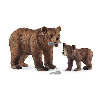 SCHLEICH Wild Life Grizzly Bear Moeder met Cub Toy Figure Set