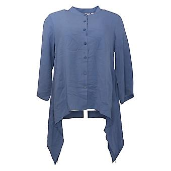 Linea by Louis Dell'Olio Women's Top Band Collar Button Front Blue A378730
