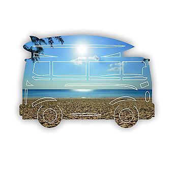 Camping-car d'été et miroir acrylique de planche de surf