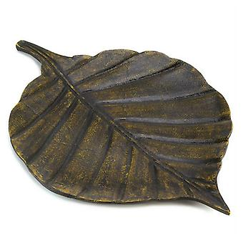 Accent Plus Antique-Look Metal Decorative Leaf Tray, Pack of 1