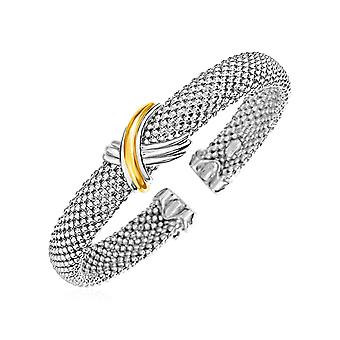 Popcorn Texture Cuff Bangle with X Motif in Sterling Silver and 18k Yellow Gold