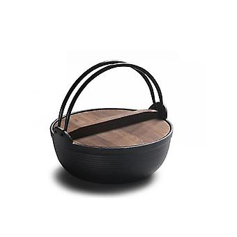 Casserole dishes 25cm cast iron stew pot with wood cover soup pot japanese sukiyaki stew pot uncoated outdoor black