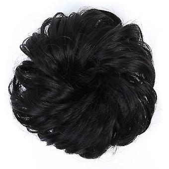 Rodet Scrunchies Donut syntetisk hår bolle lige elastikbåndsbetræk Varmebestandig