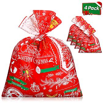 Cabilock 4pcs Christmas Gift Bags Large Festive Xmas Goody Bags With 4 Gift Cards And 4 Tie Ropes Christmas Wrapping Bags Presents Candies Storage Pou