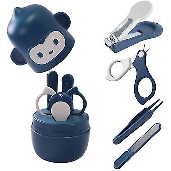 Baby Nail Art Set, Baby Nail Clippers, Scissors, Nail File, Tweezers, 4-in-1 Baby Beauty Tool Set Newborn Cute Blue Monkey