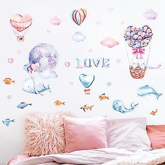 Whale Hot Air Balloon Naklejki ścienne Naklejki Sypialnia Tło Wystrój domu