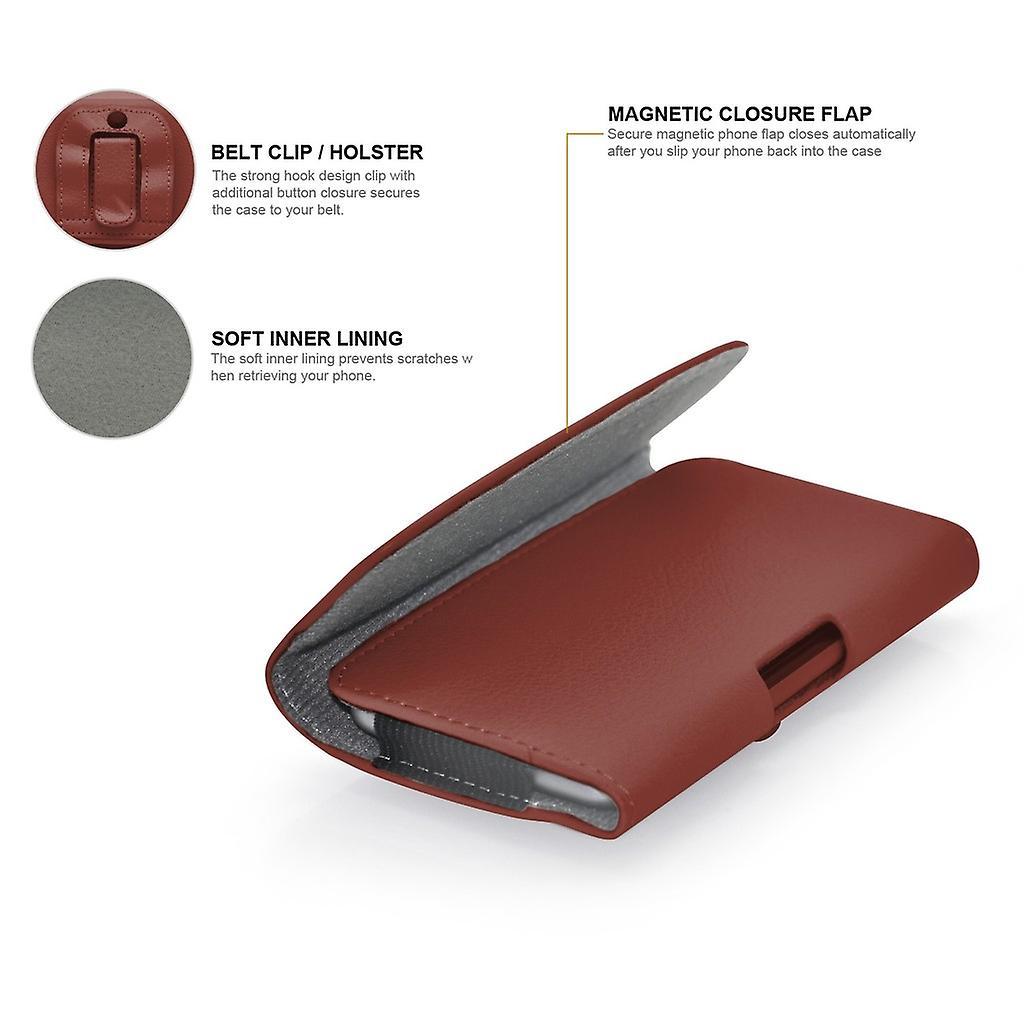 Huawei 社の名誉 4 水平合成皮革ベルト ホルスター ポーチ カバー ケース (ブラウン) X