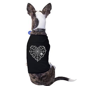 قلب العنكبوت ويب القميص الأسود الحيوانات الأليفة الكلب الصغيرة رسم مضحك قميص هدية