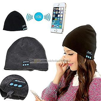 (Black) Unisex One Size Winter Bluetooth Beanie Hat with Built-in Wireless Stereo Speaker Headphone For HTC U11