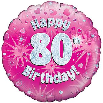 Oaktree 18 Inch Happy 80th Birthday Pink Holographic Balloon