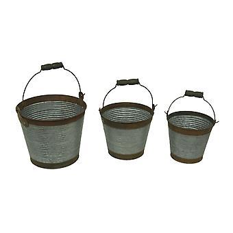 Corrugated Galvanized Metal 3 Piece Rustic Bucket Set