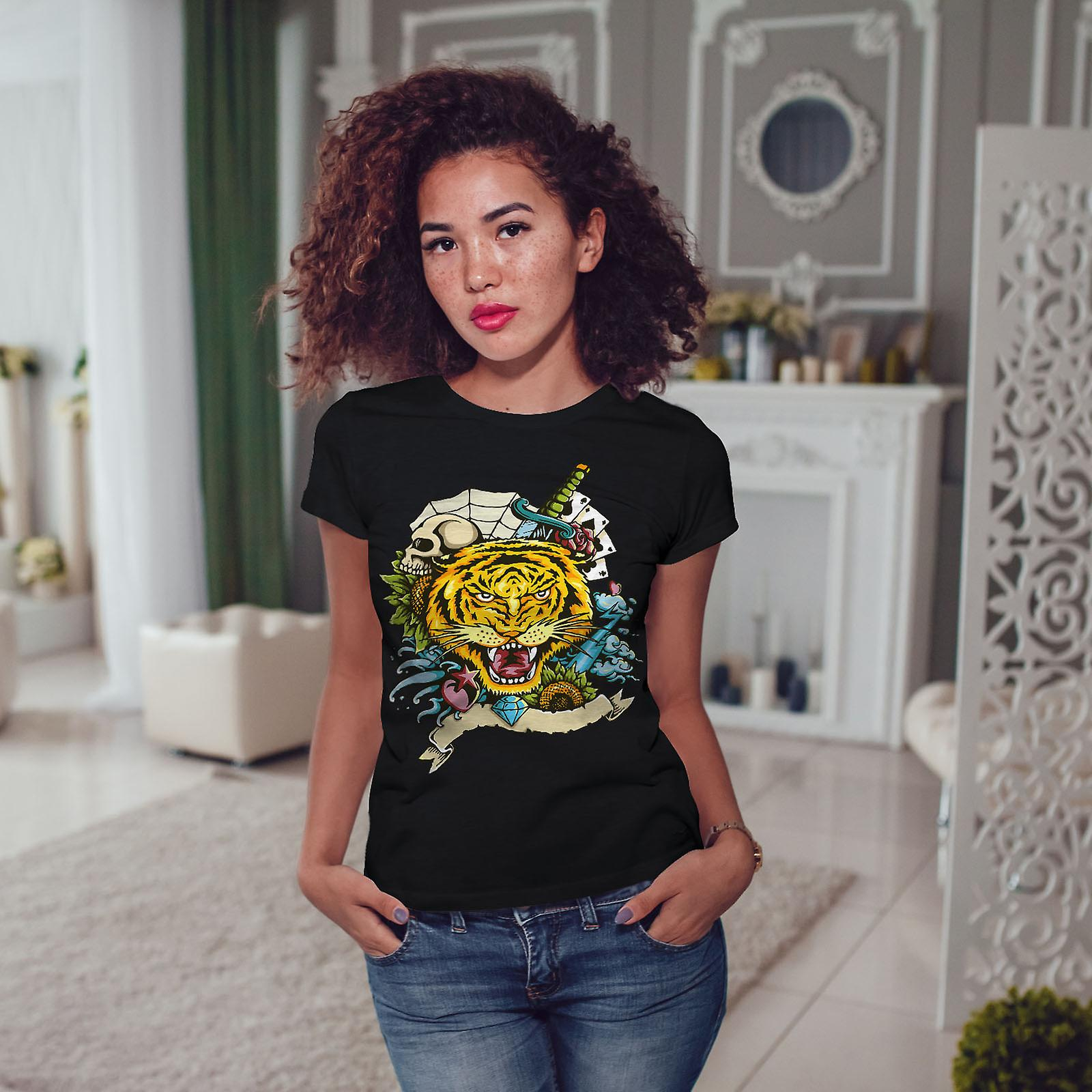 Tigre Face BlackT-chemise femme   Wellcoda