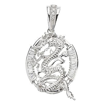 925 iced out sterling silver pendant - DRAGON