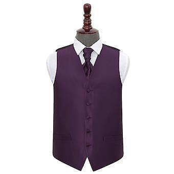 Cadbury lila solide Check Hochzeit Weste & Krawatte Set