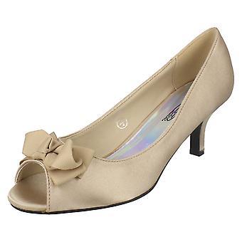 Ladies Spot On Peep Toe Heels With Bow Trim