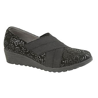 Boulevard Womens/Ladies Crossover Elastic Wide Fit Shoes