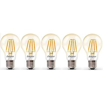 5 X Energizer 6.2W = 60W LED Filament GLS Light Bulb Lamp Vintage ES E27 Clear Edison Screw [Energy Class A+]