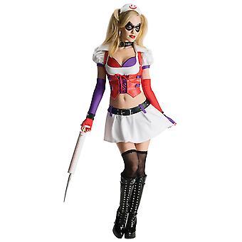 Harley Quinn Harlequin sykepleier Supervillain Batman Arkham Asylum Womens drakt