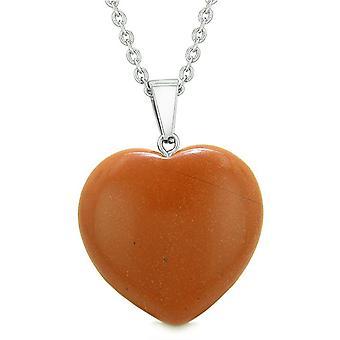 Chanceux Puffy coeur charme cristal rouge Jasper bonne chance Will pouvoirs amulette pendentif