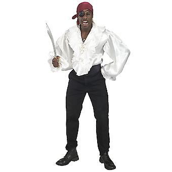 Pirate Captain Cutthroat Carribbean Medieval Mens Costume White Satin Shirt