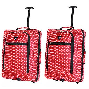 Slimbridge Montecorto Set of 2 Cabin Luggage Bags, Red Dots (SET OF 2)