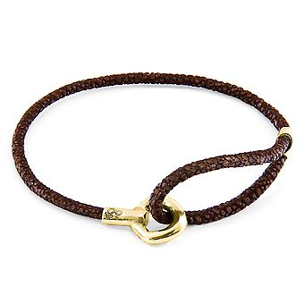 Anchor & Crew Mocha Brown Blake 9ct Yellow Gold and Stingray Leather Bracelet