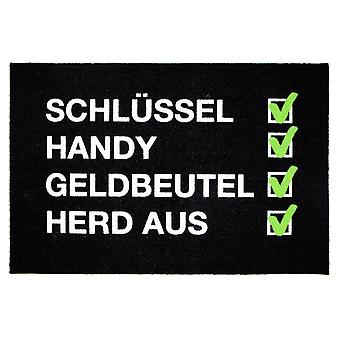 Lista de verificación alfombrilla Schl³ssel, teléfono móvil, bolso, estufa hecha de 100% poliamida, con parte inferior de PVC antideslizante.