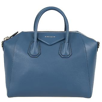Givenchy Antigona azúcar piel de cabra cuero Satchel Bag | Azul Teal con Hardware de plata | Medio