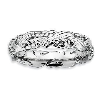 925 Sterling Silber gemustert Rhodium vergoldet stapelbare Ausdrücke poliert Ring Schmuck Geschenke für Frauen - Ring Größe: 5