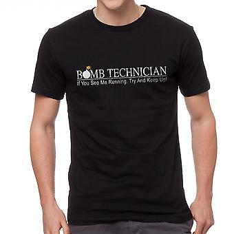 Bomb Technician If You See Me Running Keep Up Graphic Men's Black T-shirt