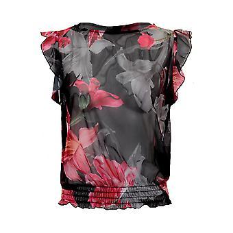 Damen Rüschen Volant Kurzarm Semi schiere Mesh Floral durchschauen Bluse Top