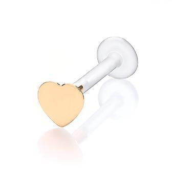 Labret Baari Stud Monroe, korvankansi lävistyksiä Bioflex 9 ct keltainen kultaa sydän
