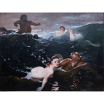 The Waves, Arnold Bocklin, 50x40cm