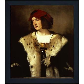 Med ram Portrait of a man in a red cap,Titian,61x51cm