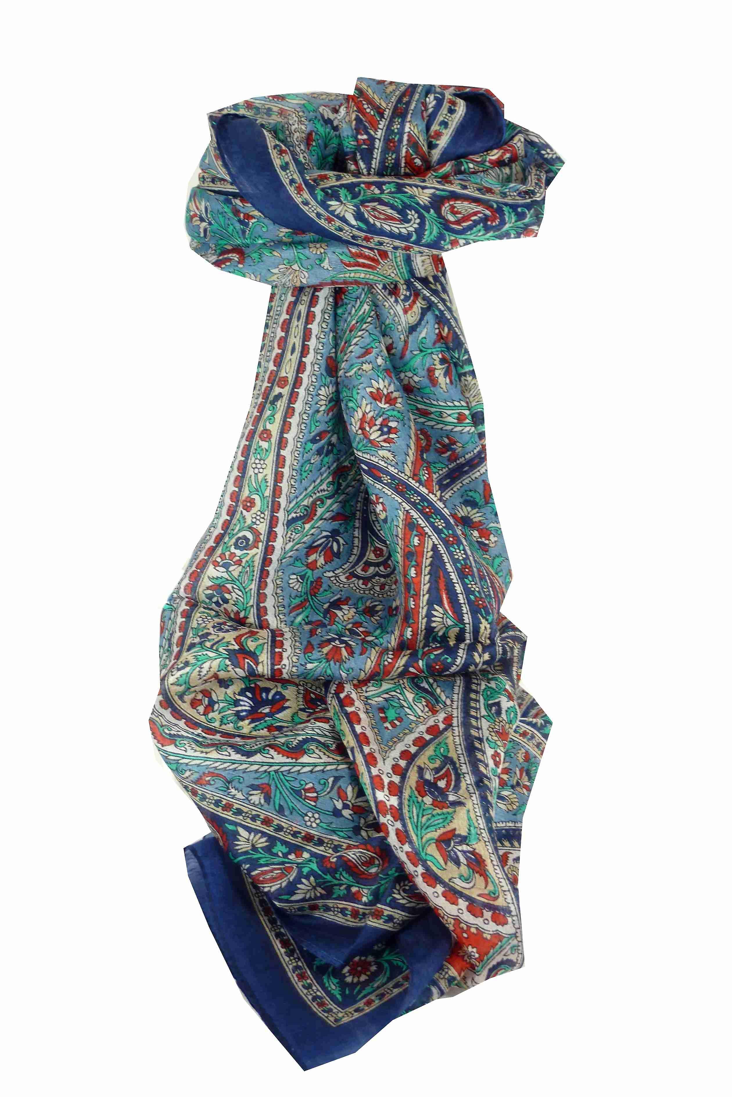Mulberry Silk Traditional Long Scarf Riya Blue by Pashmina & Silk