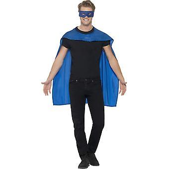 Cloak blue with eye mask hero costume