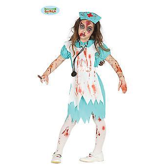 Grünes Zombie OP Krankenschwester Kinder Halloween Kinderkostüm Blut