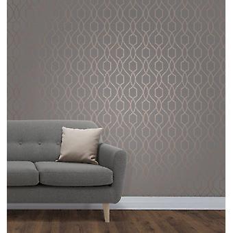 Elegante Apex traliccio Sidewall rame carbone carta da parati decorazione murale 0,52 x 10,05 m