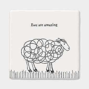 East of India Porcelain Square Coaster 'Ewe are Amazing' - Gift