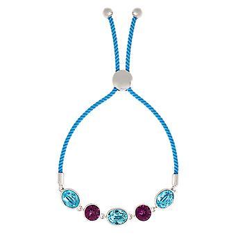 Bertha Jemma Collection Women's 18k WG Plated Aqua Bolo Rope Fashion Bracelet