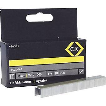Taskukiinnikkeet 1000 kpl C.K. 496003 Clip tyyppi 140 Mitat (L x L) 10 mm x 10,5 mm