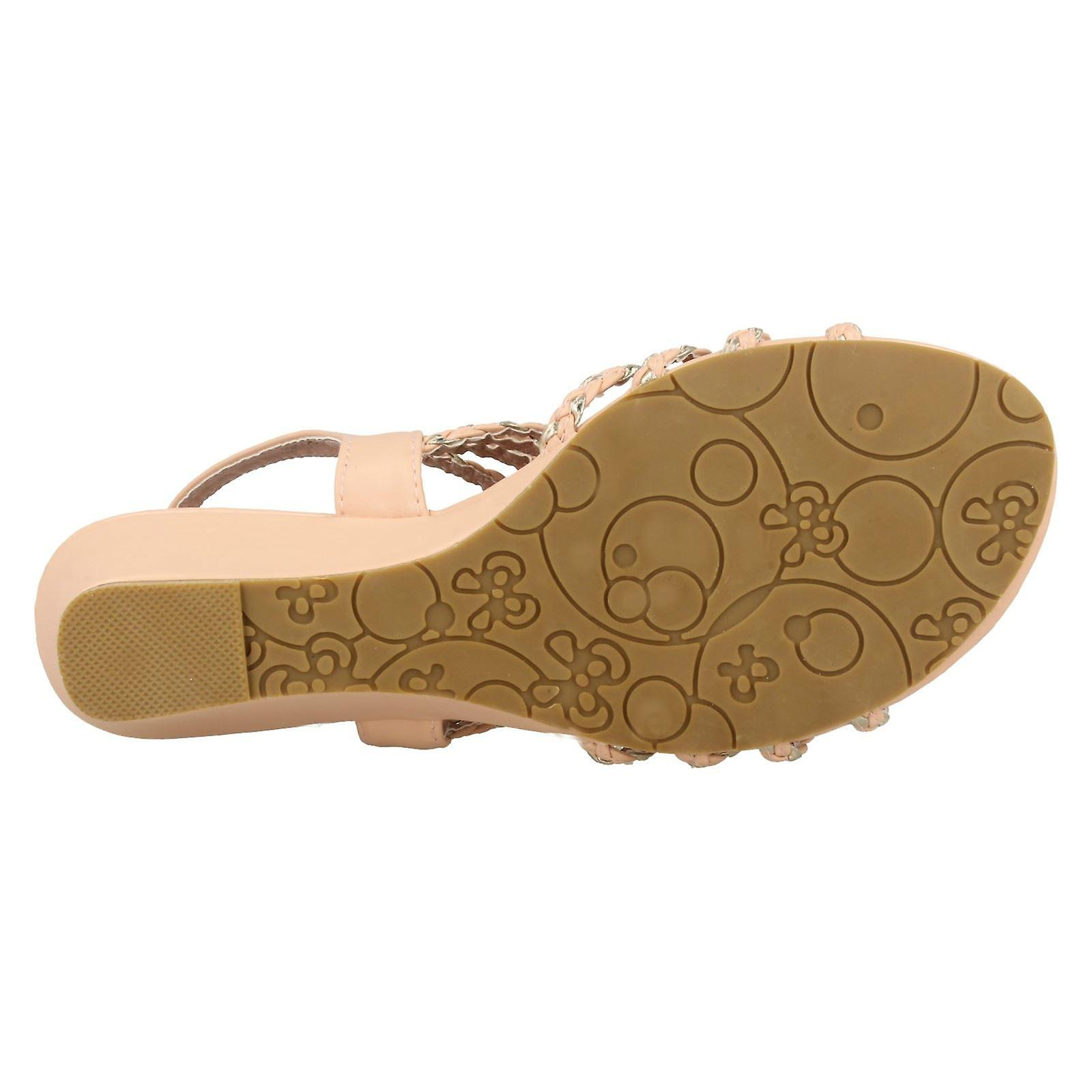 Ladies spot on Wedge sandales F10036 (abricot/or) UK 6