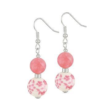 Ewige Sammlung Wiese Coral Pink Floral Silberfarbe Drop Ohrstecker